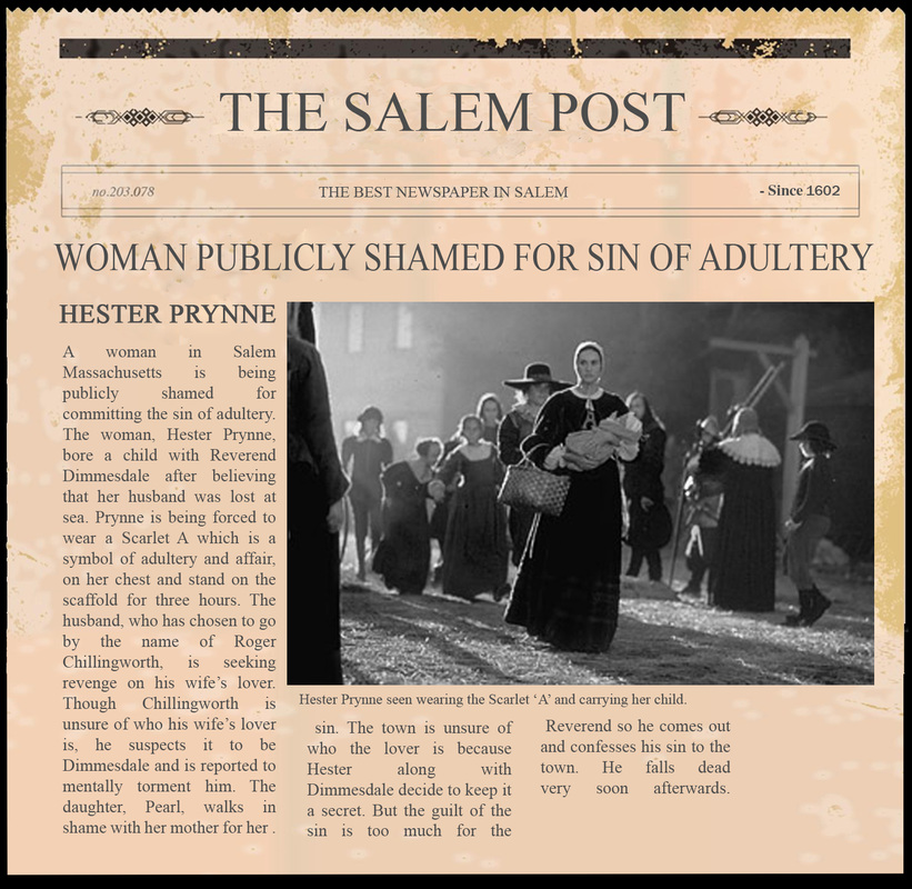 newspaper article - multi-genre project for the scarlet letter